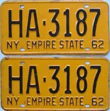 1962 New York (Pair) license plate for sale