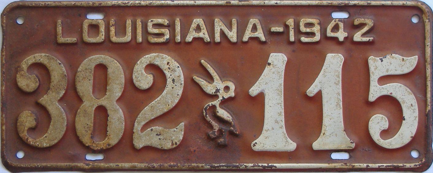 1942 Louisiana license plate for sale
