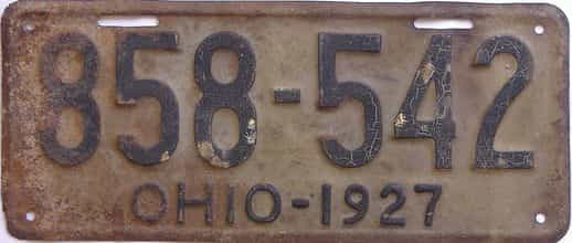 1927 Ohio  (Single) license plate for sale