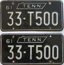 1961 Tennessee (Pair) license plate for sale