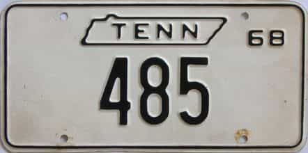 1968 Tennessee (Single) license plate for sale