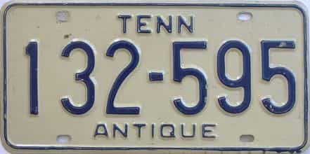 1982 Tennessee (Antique) license plate for sale