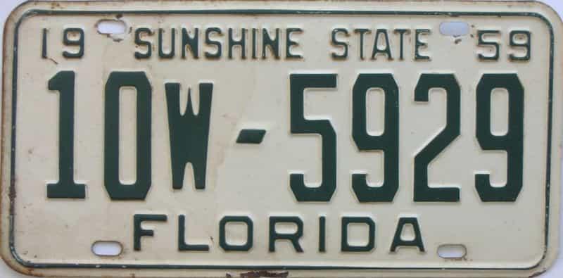 1959 FL license plate for sale