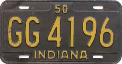 1950 Indiana (Single) license plate for sale