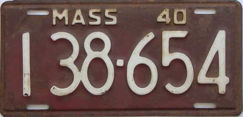 1940 MA (Single) license plate for sale