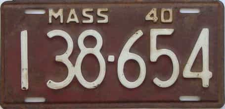 1940 Massachusetts (Single) license plate for sale