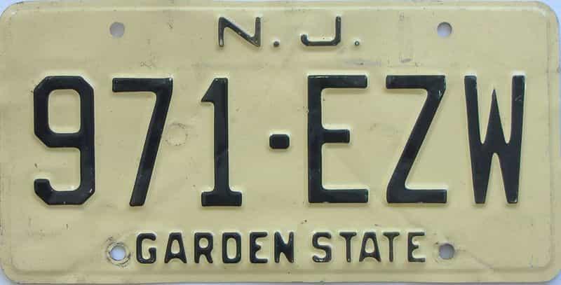 NJ (Single) license plate for sale
