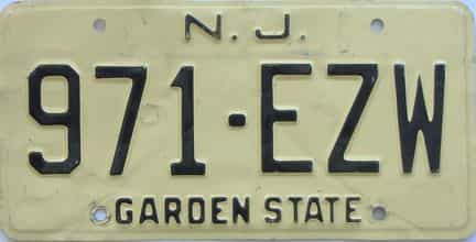 New Jersey (Single) license plate for sale