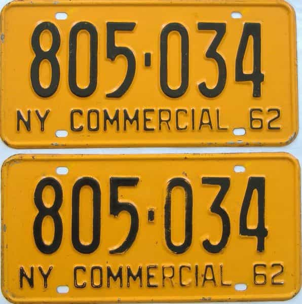 1962 New York (Truck) license plate for sale
