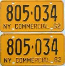 1962 New York  (Non Passenger) license plate for sale