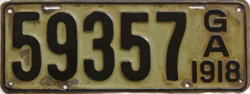 YOM 1918 GA (Relettered) license plate for sale