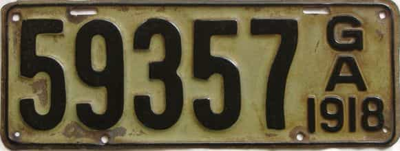 YOM 1918 Georgia (Relettered) license plate for sale