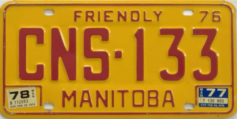 1978 Manitoba (Single) license plate for sale