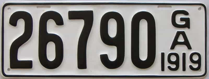 YOM 1919 GA (Older Restoration) license plate for sale