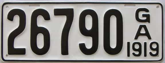 YOM 1919 Georgia (Older Restoration) license plate for sale