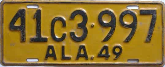 1949 Alabama  (Single) license plate for sale