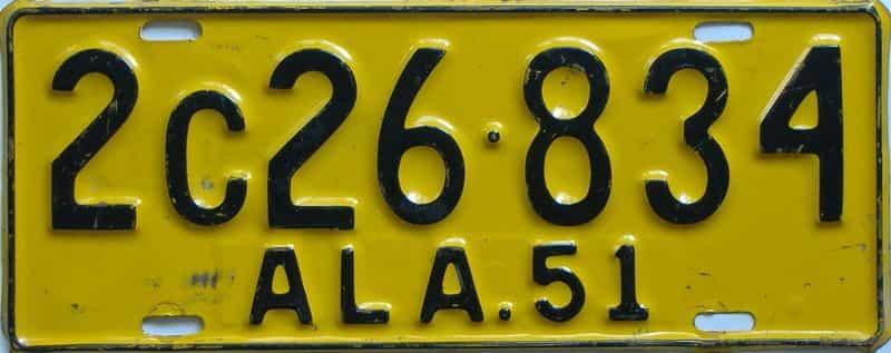 1951 Alabama (Single) license plate for sale