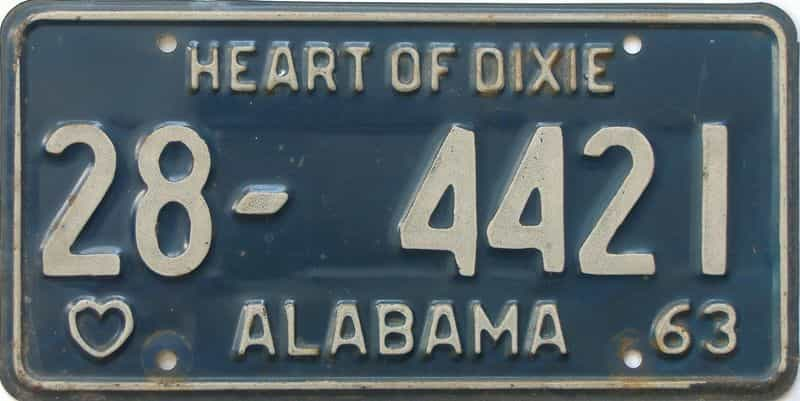 1963 Alabama license plate for sale