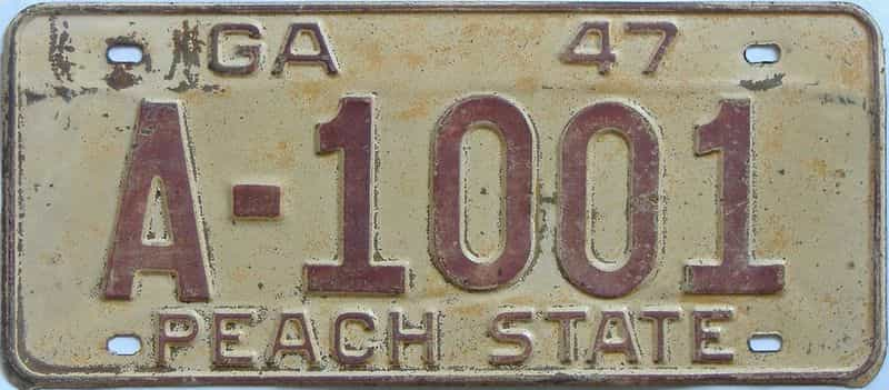 YOM 1947 GA license plate for sale
