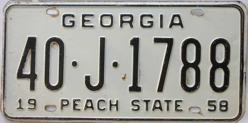 YOM 1958 GA license plate for sale