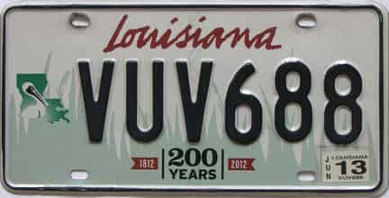 2013 Louisiana (Natural) license plate for sale