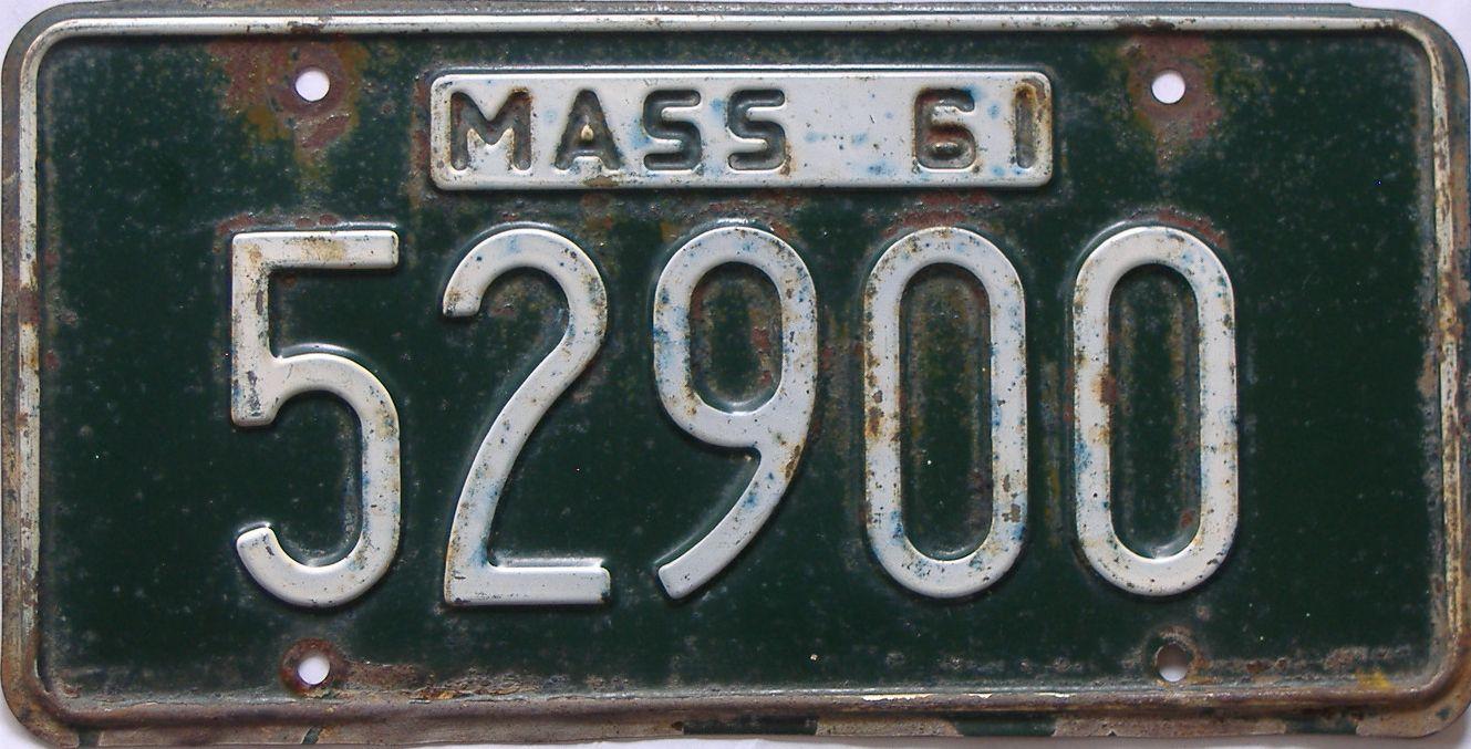 1961 Massachusetts (Single) license plate for sale