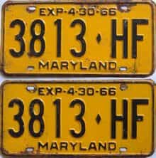 1966 Maryland (Truck) license plate for sale