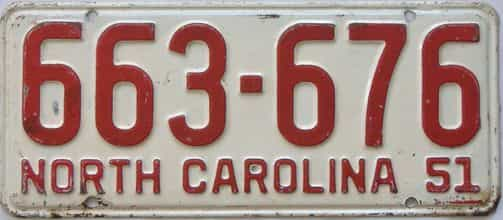 1951 North Carolina (Single) license plate for sale