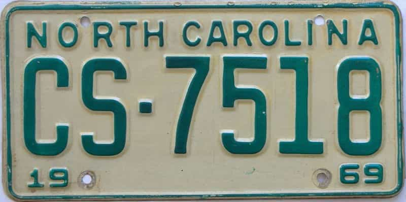 1969 NC license plate for sale
