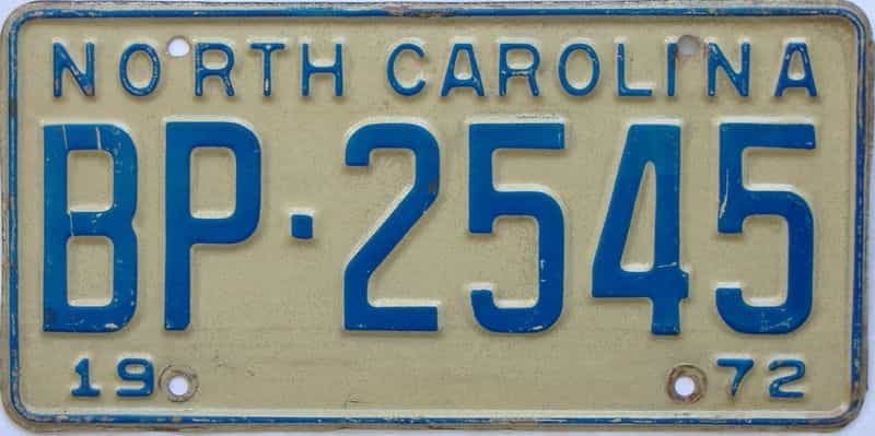 1972 North Carolina license plate for sale