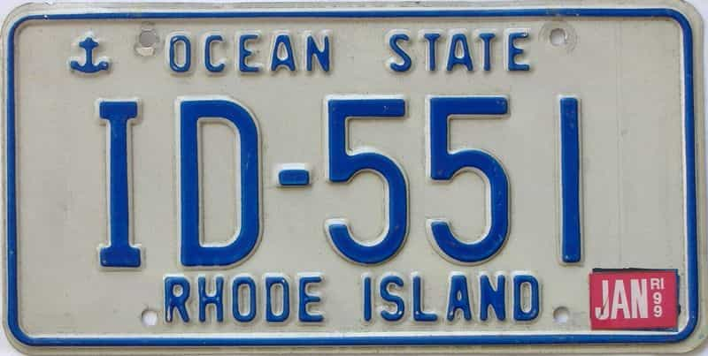 1999 Rhode Island  (Single) license plate for sale
