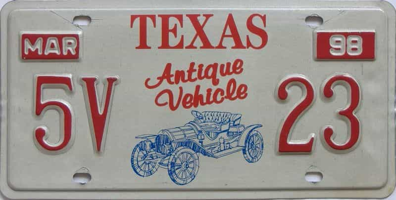 1998 Texas (Antique) license plate for sale