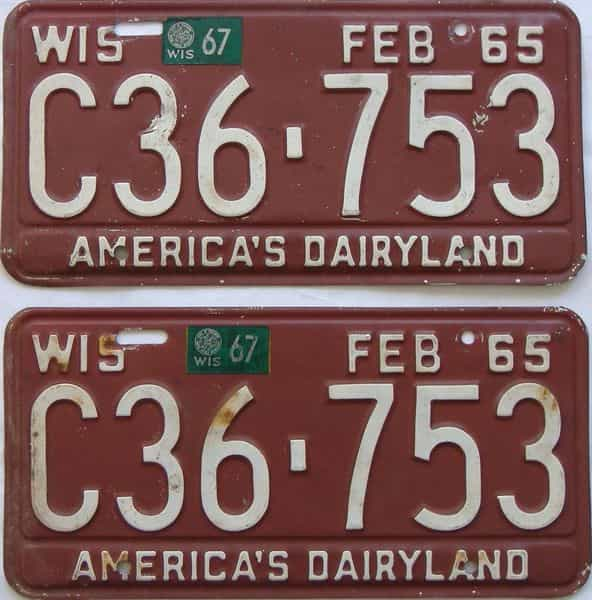 1967 Wisconsin (Pair) license plate for sale