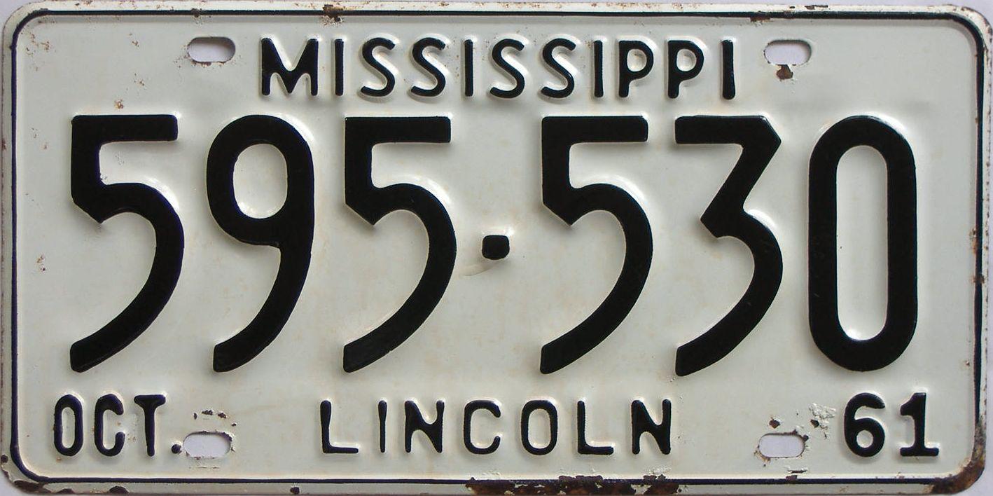 1961 Mississippi license plate for sale