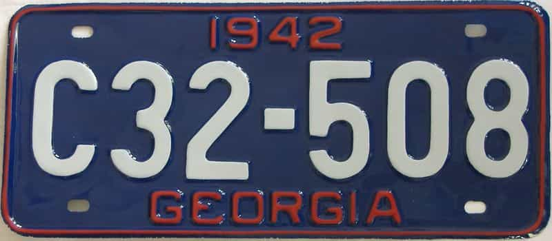 YOM RESTORED 1942 GA license plate for sale