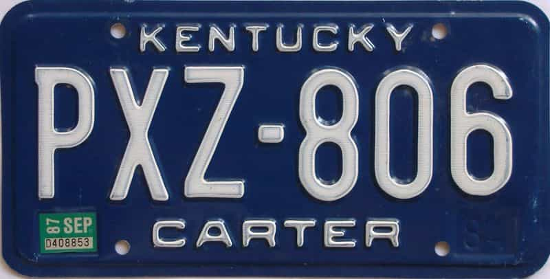 1987 Kentucky license plate for sale
