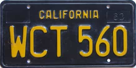 1963 California  (Single) license plate for sale