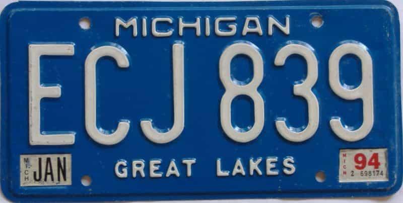 1994 MI license plate for sale