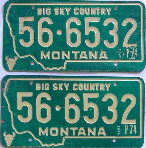 1974 Montana  (Pair) license plate for sale