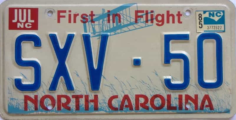 1985 NC license plate for sale
