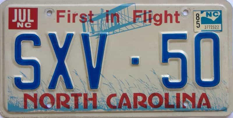 1985 North Carolina license plate for sale