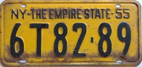 1955 New York license plate for sale
