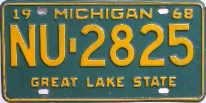 1968 MI (Single) license plate for sale
