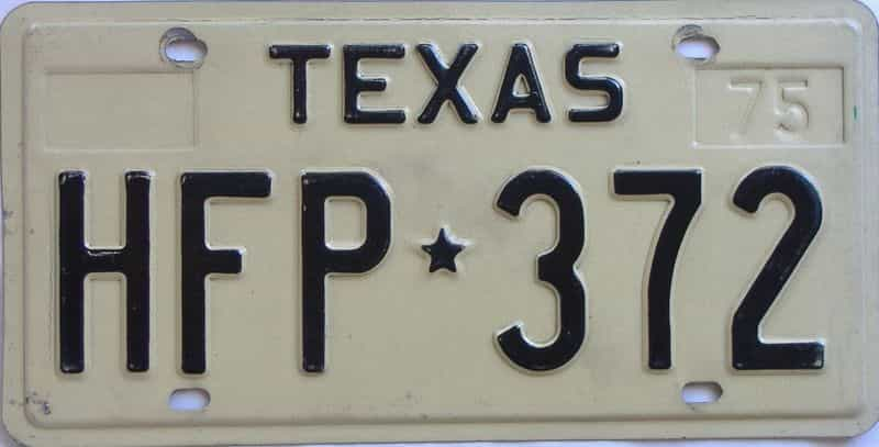 1975 Texas (Single) license plate for sale