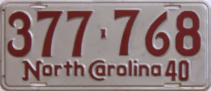 1940 NC (Single) license plate for sale