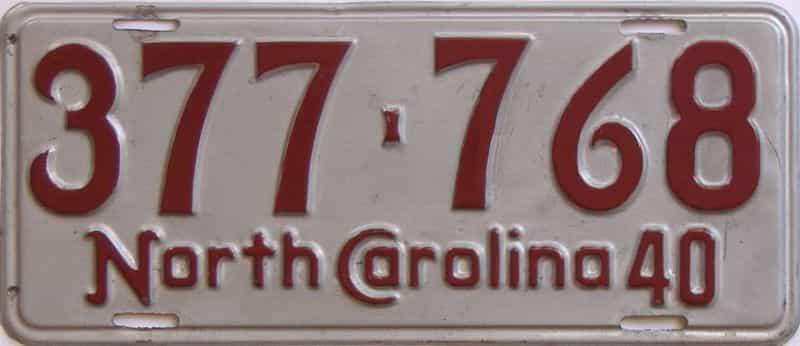1940 North Carolina (Single) license plate for sale
