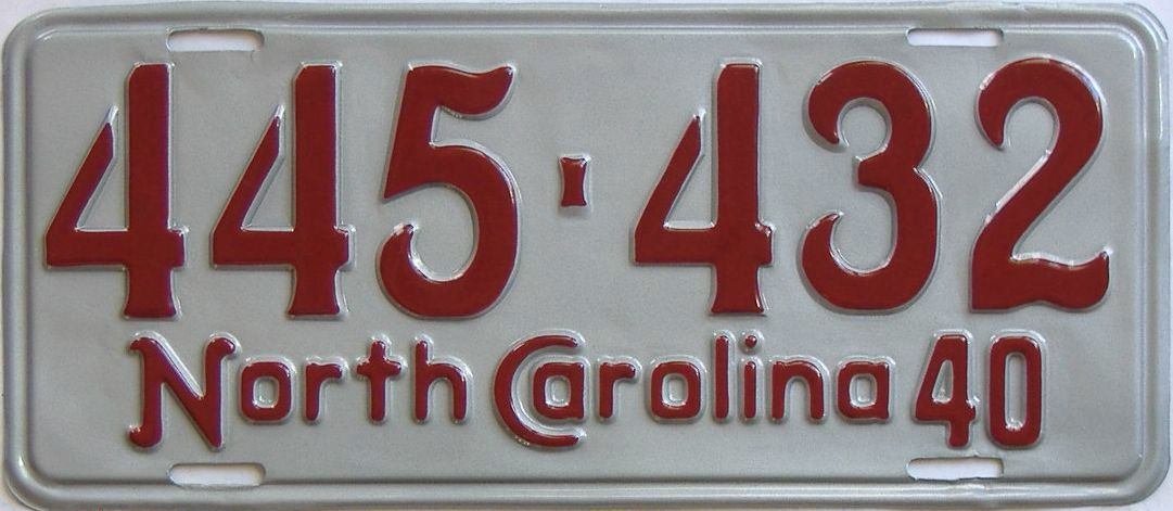 RESTORED 1940 North Carolina (Single) license plate for sale