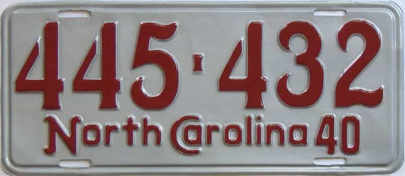 RESTORED 1940 NC (Single) license plate for sale