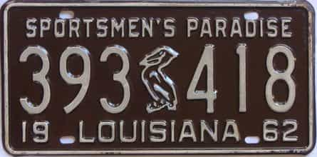 1962 Louisiana license plate for sale
