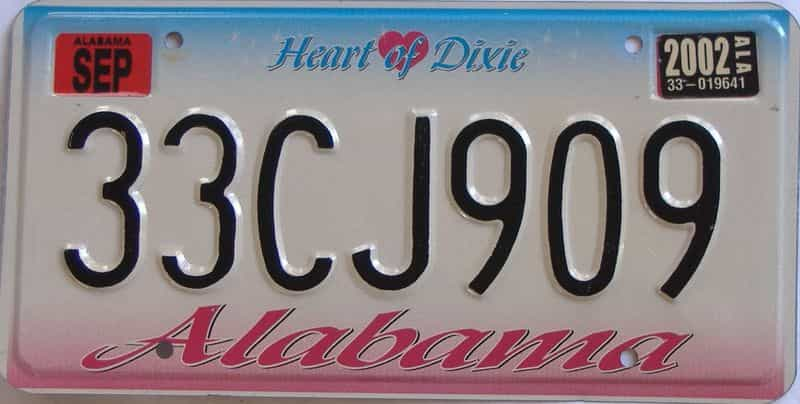 2002 Alabama license plate for sale